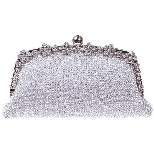 Bonjanvye Bling Clutches for Ladies with Giltter Rhinestone Flower Clutch Evening Bag Silver