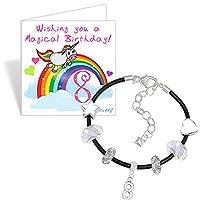 Girls 8th Birthday Leather Charm Bracelet and Unicorn Birthday Card Gift Set (5. Black)