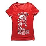 Frauen T-Shirt Das Leben ist eine Reise - Geschenkideen für Biker, Vintage-Bike-Grafik-Design, Motorräder zu lieben (X-Large Rot Mehrfarben)