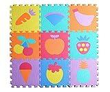 Jessie&Letty 90*90cm Soft Foam Früchte Fahrzeuge Zoo Tier Puzzlematte Puzzle Playmat 36-teilig Kinderteppich Spielmatte Spielteppich Puzzle Alphabet & Numbers (Früchte )