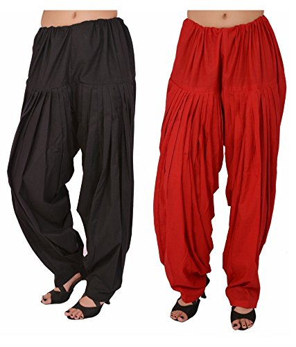 Pistaa combo of womens Readymade Black and Red Patiala Pant