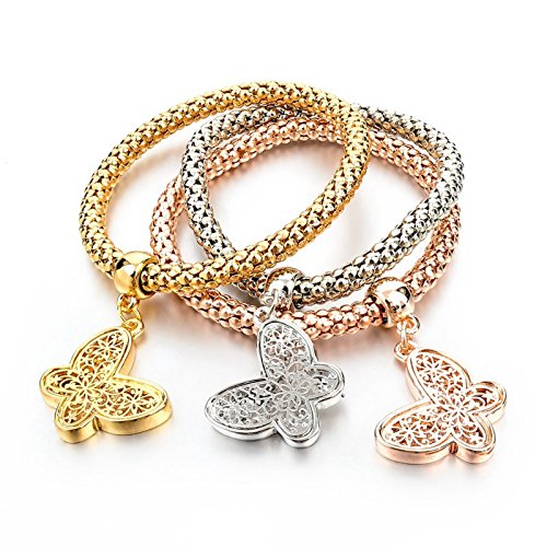 Hot And Bold Gold Plated Multi Layer/Combo Dangling Charms Bracelet For Women & Girls. Daily/Party Wear Fashion Jewellery. (Dangling Butterfly)