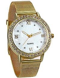 JewelryWe Reloj de Hombre Caballero Clasico Reloj de Acero Inoxidable Correa Milanesa Fina, Oro Dorado