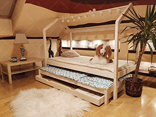 Oliveo Mon lit cabane Barrières de sécurité et tiroir, Lit pour Enfants,lit d'enfant,lit cabane avec barrière, 5 Jours Livraison (120 x 60 cm, Barrières de sécurité et tiroir: Aucun)