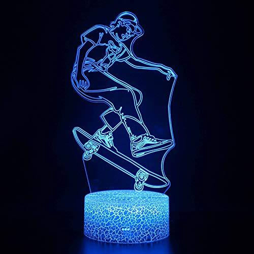 3D-Nachtlicht für Kinder mit Fernbedienung und 7 Farbwechsel- und dimmbaren Funktionen, Weihnachtsgeburtstagsgeschenke für Jungen Mädchen Mann Kind Spielzeug, Skateboard-Stunt-A