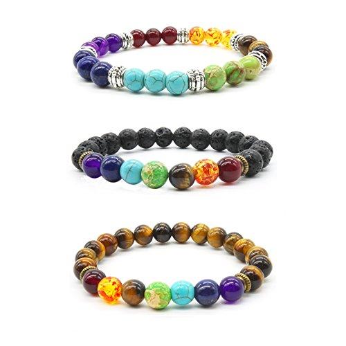 Armband aus Natursteinen, Tigerauge, Lavastein, Heilsteine, Reiki, Chakra, Herren/Damen, Armband, 3 Stück