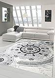Traum Tappeto moderno design Tappeto orientale con tappeto Glitzergarn soggiorno con classici ornamenti orientali cerchio in crema Grigio Nero Größe 200x280 cm