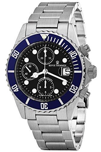 Revue Thommen Diver 42 mm Herren-Armbanduhr, schwarzes Zifferblatt, Edelstahl, automatisch, Chronograph, Datum, Schweizer Armbanduhr 17571.6135
