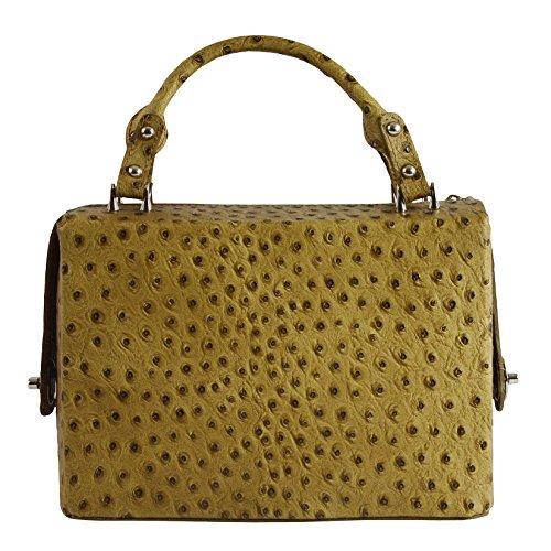 Chicca Tutto Moda CTM L'embrayage à main de la femme avec l'autruche boniment en cuir véritable italien 26x18x13 Cm