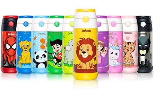Jarlson Trinkflasche Kinder - Thermo Edelstahl Wasserflasche 350ml - BPA frei - auslaufsicher - Kinderflasche mit Strohhalm - Flasche für Schule, Sport, Kindergarten (Löwe, 350 ml)