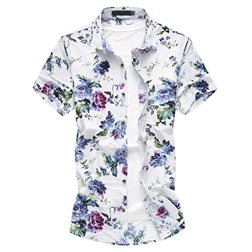 Zhuhaitf Herren Männer Aloha Hawaii Hemd Hawaiihemd Hawaiishirt Urlaub Hemd Party Sommer Freizeithemd mit Kurzarm Mens Hawaiian Printed Shirt M-7XL (Mens Hawaiian Camp-shirt)