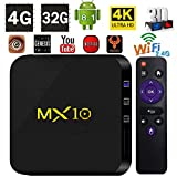 TV Box Android 8.1 - LinStar MX10 2018 Version Android 8.1 TV Box 4GB RAM 32GB ROM RK3328 Quad Core 64 bits Processor,Support 3D/4K/ 2.4GWifi/100M LAN/H.265