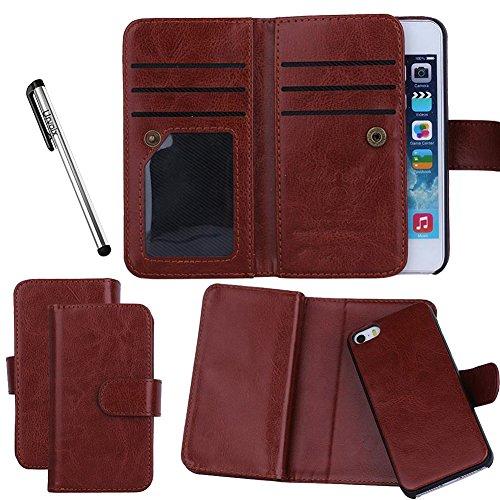 Urvoix Hülle mit Kartenplätzen, für iPhone 55S, 2in 1abnehmbare magnetische Rückseite, Kunstleder braun