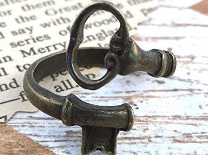 xiaoaose Clave Esqueleto anillo vintage de bronce antiguo ajustable Joyería Atadura Cuchara Anillo