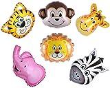 Ximkee Mini-Folienballon-Set im Dschungel-Design, mit Elefant Giraffe Tiger Löwe Affe Zebra, 6er-Packung