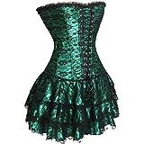 bustino in pizzo con tutu corsetto gonna donna sexy in pizzo fiori taglie forti verde 2xl