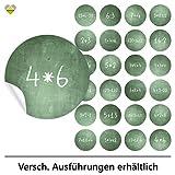 cute-head 24 Adventskalender-Zahlen (Aufkleber Etiketten Sticker) | Kreidetafel (simuliert) | Mathe/Rechenaufgaben | Rund | M » Ø 40 mm | Grün | F00078-01