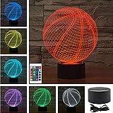 3D Lampe Optische LED Täuschung Nachtlicht,7 Farbwech mit Acryl Flat & ABS Base & USB-Ladegerät ändern Berühren Sie Botton Schreibtisch lampe Tischleuchte,Kinder Weihnachtsgeschenke (Basketball)