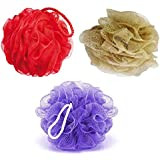 KRIWIN Set of 3 Bath Loofah(Purple, Golden & Red)