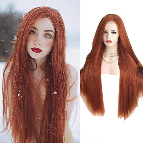 LAYZYX Vordere Lace Stretch Net Lange Glatte Haare Perücke, Mode Goldbraun natürliche hochwertige atmungsaktive High Density realistische handgewebte Perücke, 26 Zoll -
