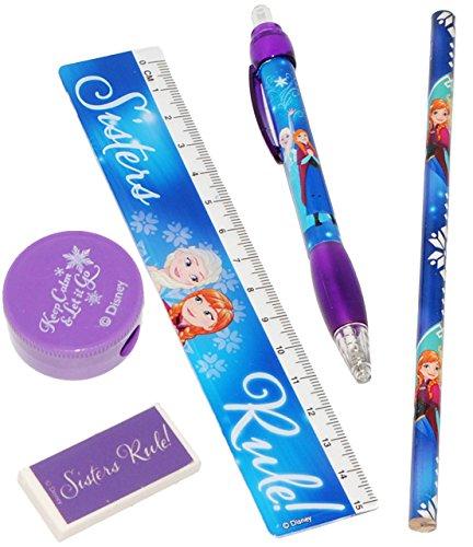 5 tlg. Set - Schreibset - ' Disney FROZEN - die Eiskönigin ' - Bleistift + Lineal + Radiergummi +...