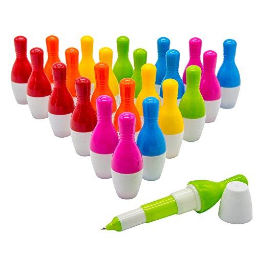 woclhj-Kugelschreiber, Mini-Kugelschreiber, mit Stift, Geschenk für Studenten, Kinder, 24Stück, 0,5mm, Blau, Bowling Pen