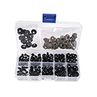 1 Box(100PCS) 6-12mm Plastic Safety Eyes Noses Kits with Washers for DIY Sewing Crafting Buttons for Puppet Bear Doll Animal Stuffed Toys (Black) by erioctry