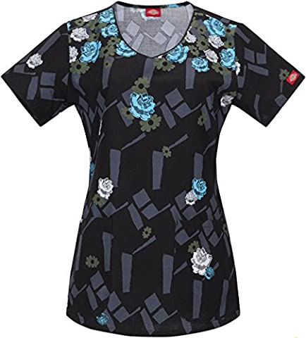 Dickies Women's Jr. Fit V-Neck Scrubs Print Top That's Bouquet By Me X-Small