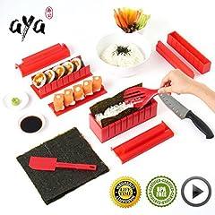 Idea Regalo - Sushi kit - Sushiaya da sushi Maker Deluxe rosso completo con coltello e esclusiva online video tutorial 11 Piece DIY sushi set - facile e divertente per principianti - sushi roll Maker - Maki rotoli