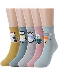 5e6a274f1bf WYTartist Femmes Mignon Chaussettes Animal de Bande Dessinée Novelty Casual  Coton Cheville Chaussettes pour Fille Dame