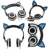 Casque audio aux oreilles de chat avec LED lumineux pour smartphone et tablette enfant et adulte - Noir et bleu - par DURAGADGET