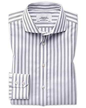 Slim fit cutaway non iron wide stripe grey cotton formal for Charles tyrwhitt shirts review
