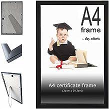 Negro marco A4 certificado, 21 cm x 29,7 cm, marco de fotos, marco fotográfico, montable en pared y con soporte