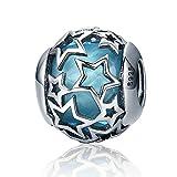 Abalorio de plata de ley 925 con diseño de corazón radiante, cristal azul cielo y circonitas cúbicas transparentes, para pulsera y collar, accesorios de joyería