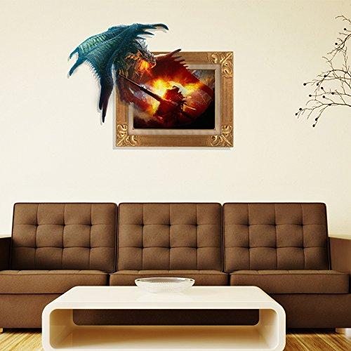 BL 3D muro-Sticker (ala Dragon Wars) Wall Stickers camera da letto Carta da  Parati soggiorno TV HD impostazione divano autoadesivo carta senza adesivo  ...