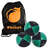 Juggling Ball Set - 3x Green/Black Juggling Balls & Firetoys Bag by Firetoys Juggling Balls