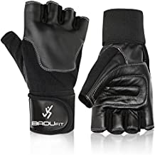 Badu Fit Gym Gloves – Leather Weight Lifting Gloves With Adjustable Wrist Wrap - Womens & Mens - Breathable - Anti-Slip - Improve Grip - Use for CrossFit, WOD, Cross Training, Kettlebell Workouts (Medium)