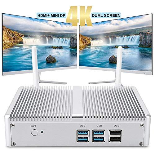 ASHATA Mini-PC, 4K HD Mini-PC Computer HTPC TV-Box HDMI VGA Dual Display 8 GB RAM + 1 TB SSD Für Intel Core i3-7100U, Windows 10 Multi-Media-Desktop-PC mit 1000 Mbit/sLAN(Silber)