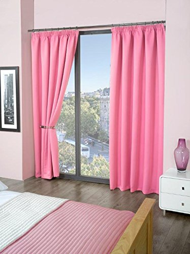 Thermal Blackout Pencil Pleat Curtain Pair, Ready Made, Light & Noise Reducing Curtains By Olivia Rocco (90″ (Width) x 54″ (Drop), Pink)