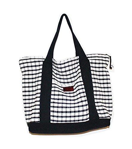 Elegante borsa a tracolla, 100% cotone, realizzato a mano, resistente e elegante Black
