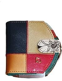 Monedero, diseño de patchwork, piel, multicolor, Imperial Horse