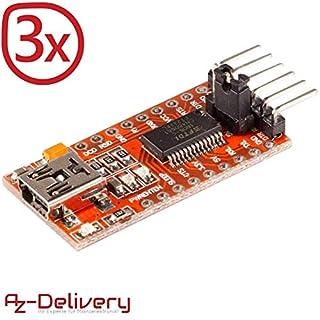 AZDelivery ⭐⭐⭐⭐⭐ 3 x FTDI Adapter FT232RL USB zu TTL Serial für 3,3V und 5V mit gratis eBook!
