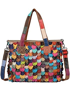Yaluxe Damen bunt Blume Stripe Leder Henkeltasche Shopper gross Schultertasche Handtasche