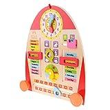 Baoblaze Wooden Calendar Board Teaching Clock Show Calendar Date Season Weather Kids Cognitive Toy