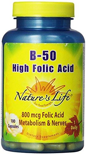 Nature's Life B-Complex , High Folic Acid, 50 Mg, 800 mcg 100 Capsules