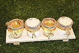 Kamaca Holzteller mit 4 LED Kerzen Enjoy Christmas komplettes Set aus 4 Glas - Kerzenhaltern und 4 LED - Teelichtern - 3