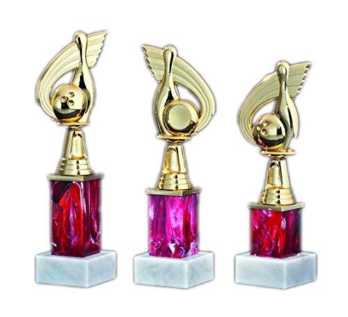 """3er-Serie Pokal-Trophäe """"Bowling"""" auf rot marmoriertem Sockel mit Ihrem Wunschtext graviert."""