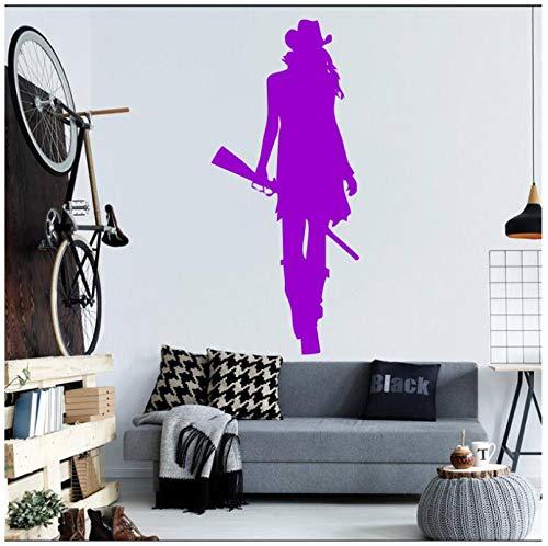 owgirl WithRifle Gun Silhouette Wandbild Home Wohnzimmer Coole Kreative Decor Wandtattoo Aufkleber 56 * 114 cm ()