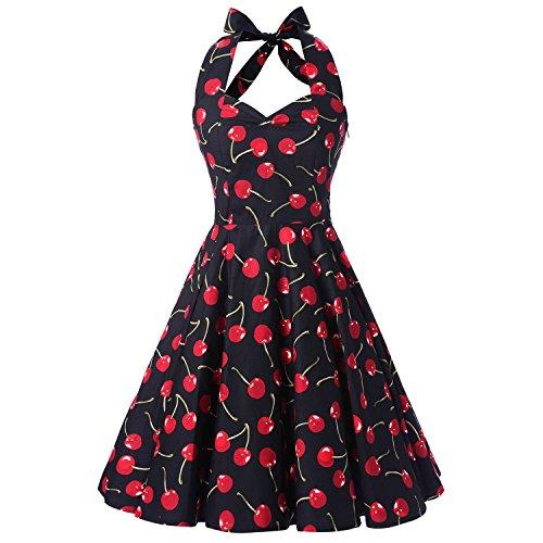 iHAIPI - Damen 50er Jahre Rockabilly Kleid Vintage Ärmelos Eine Vielzahl von Farben Tupfen und eine Vielzahl von Farbe Blumen Arten 20 (01. EU 36 (S), 021 Schwarze Hintergrund Rot Kirsche)