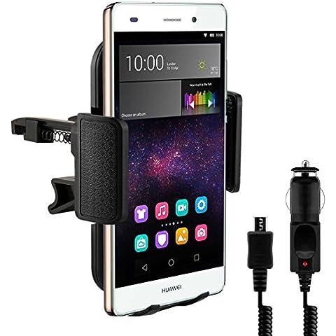 Supporto bocchette aria per Huawei P8 Lite + caricabatterie - Il cellulare entra perfettamente nel supporto senza dover rimuovere la custodia o l'involucro!